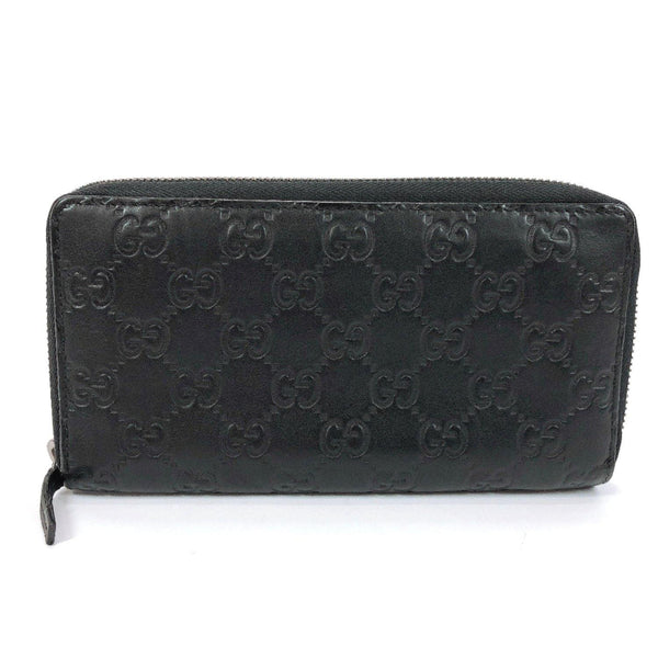 GUCCI purse 24994 Zip Around Sima leather black unisex Used