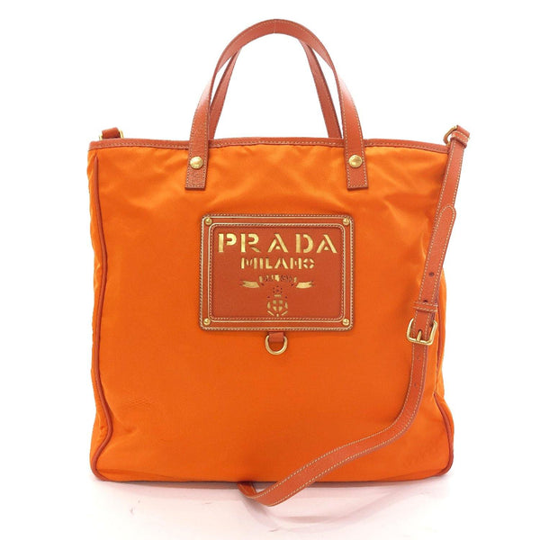 PRADA Tote Bag 2way Nylon Orange Women Used