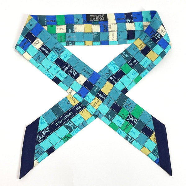 HERMES scarf Twilly Intrecciatopattern silk blue Navy Women Used