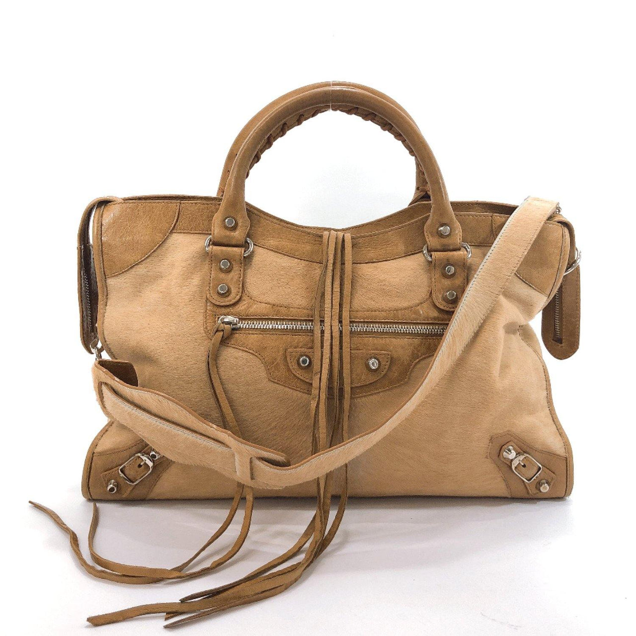 BALENCIAGA Handbag 115748 3444 The city Harako/leather beige Women Used