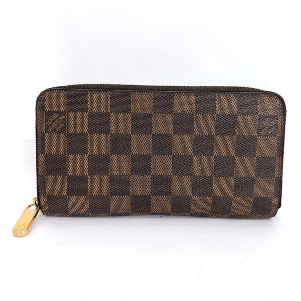 LOUIS VUITTON purse N60015 Zippy wallet Damier canvas Brown unisex Used