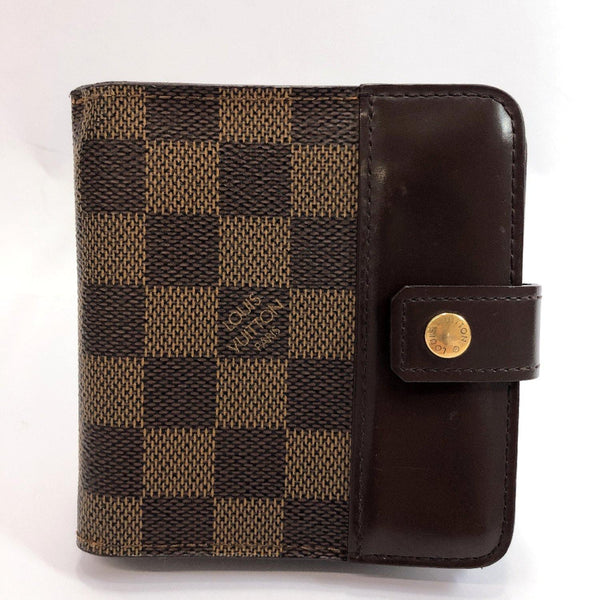 LOUIS VUITTON wallet N61668 Compact zip Damier canvas Brown unisex Used