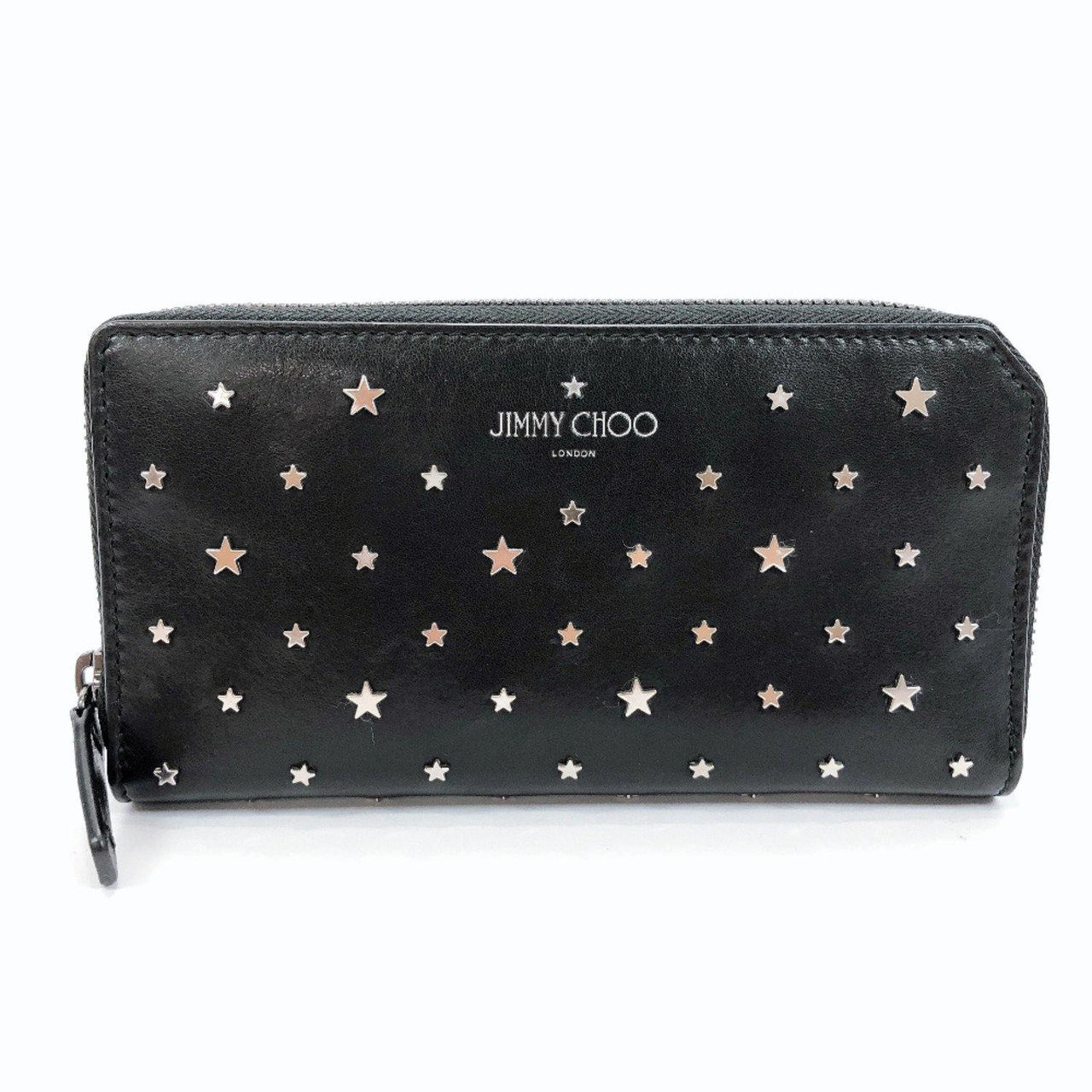 JIMMY CHOO purse Zip Around ABIKO Flat star studs leather rack Women Used - JP-BRANDS.com
