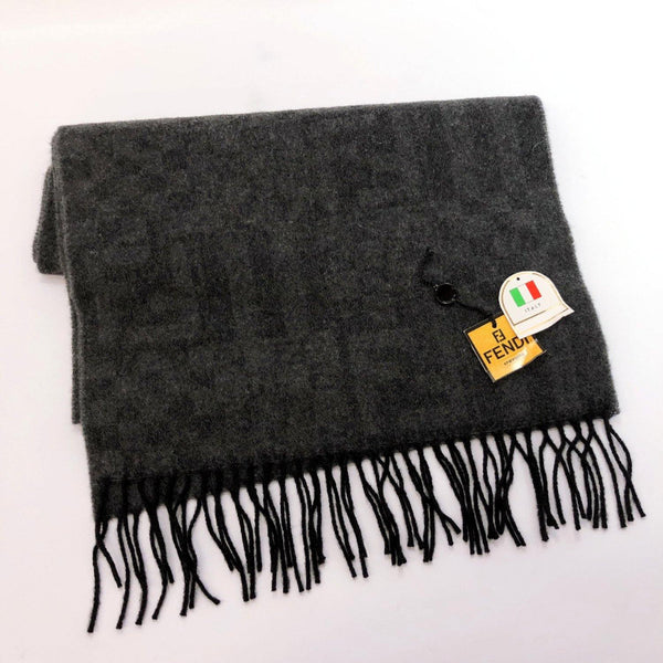 FENDI Scarf Zucca pattern wool gray unisex Used