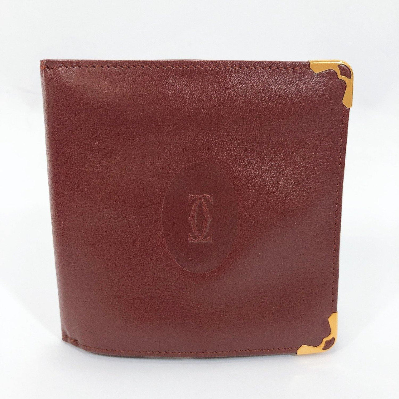 CARTIER wallet Must Line leather wine-red Women Used