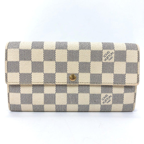 LOUIS VUITTON purse N61735 Portefeiulle Sarah Damier Azur Canvas white Women Used