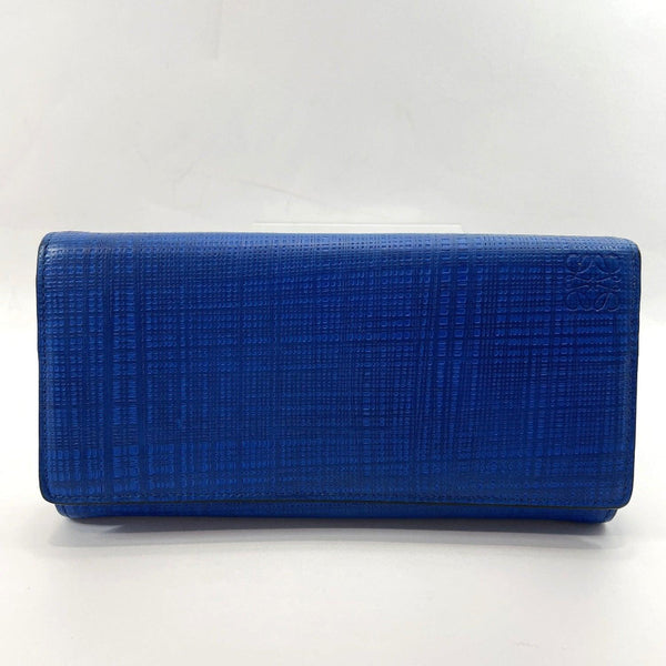 LOEWE purse Continental wallet leather blue Women Used