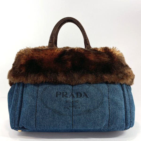 PRADA Tote Bag BN2182 Canapa L denim/Fake fur Denim blue Women Used