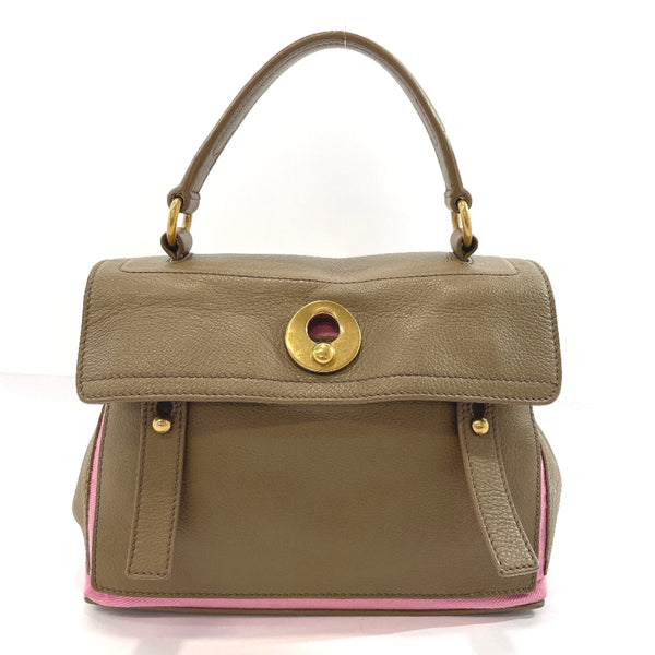 Yves Saint Laurent rive gauche Handbag 289278.467891 Muse toe leather/canvas beige pink Women Used