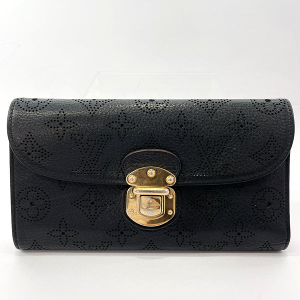 LOUIS VUITTON purse M95549 Portefeiulle Amelia Monogram Mahina Black Women Used