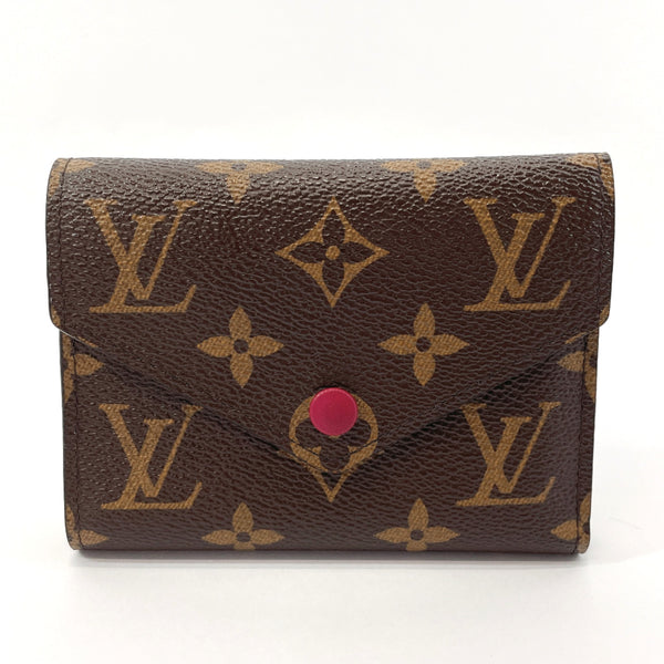 LOUIS VUITTON Tri-fold wallet M41938 Portefeiulle Victorine Monogram canvas Brown Fuchsia Women Used