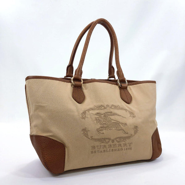 BURBERRY Tote Bag Established 1856 Nylon/leather beige Brown Women Used