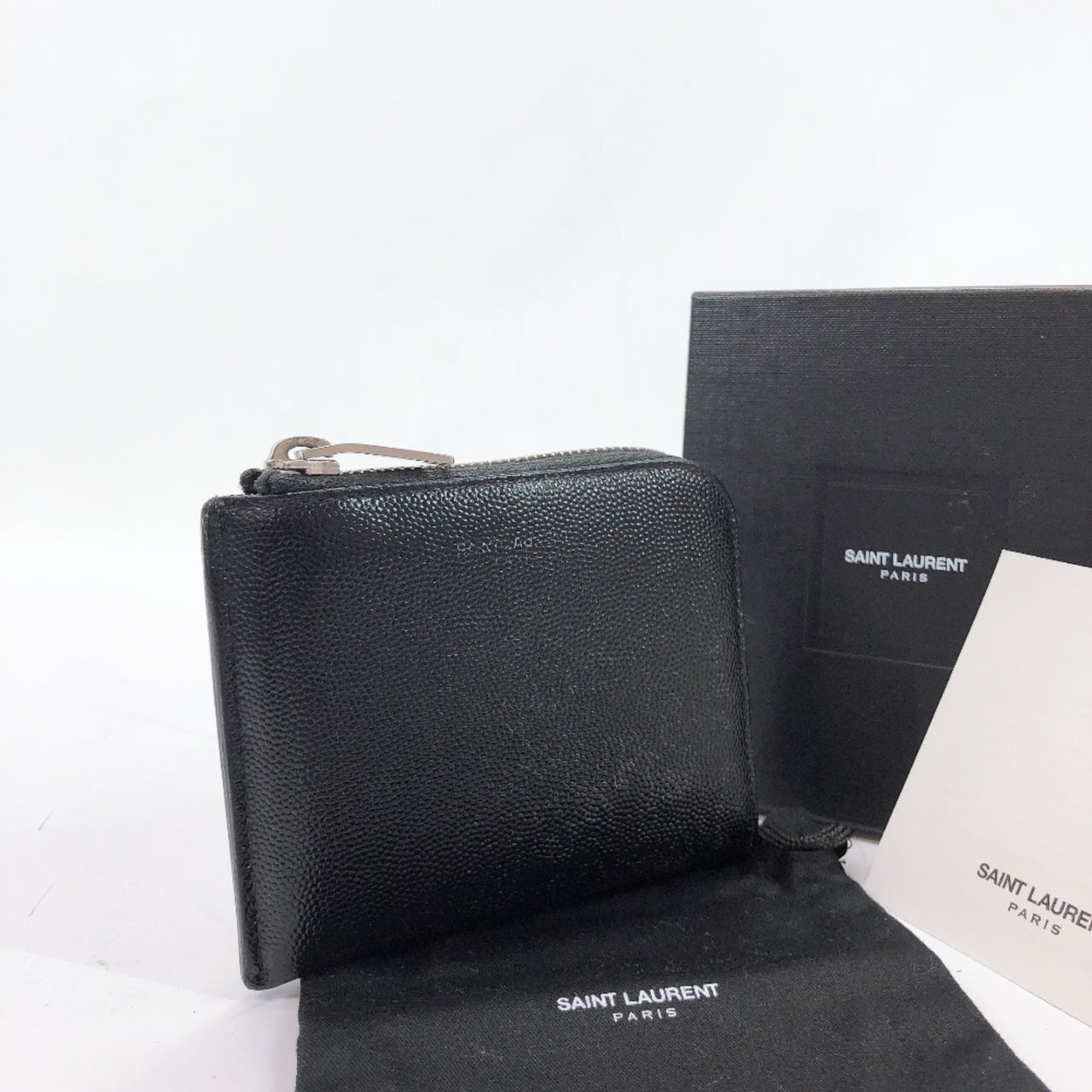 SAINT LAURENT PARIS coin purse L-shaped fastener leather black SilverHardware mens Used