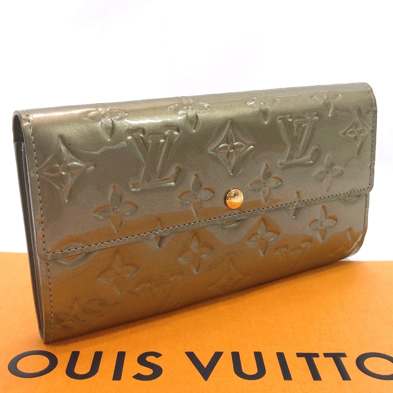 LOUIS VUITTON purse M91564 Portefeiulle Sarah Monogram Vernis khaki Women Used