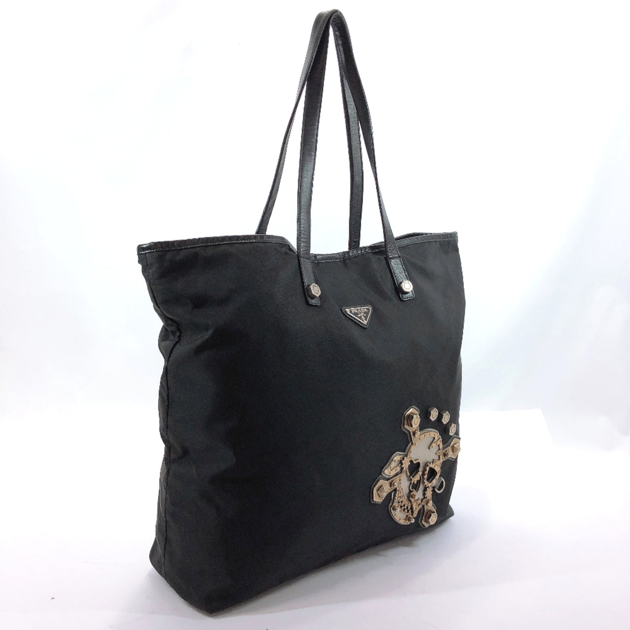 PRADA Tote Bag Skull Nylon black unisex Used