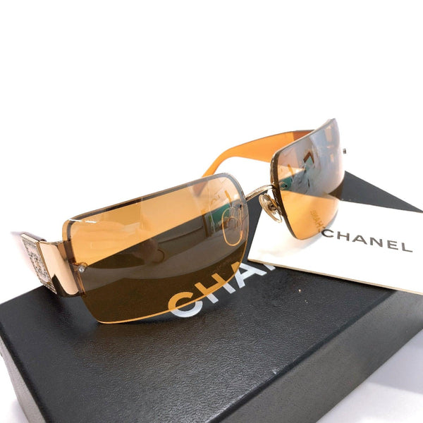 CHANEL sunglasses 4095-B Rhinestone COCO Mark Synthetic resin Brown Women Used