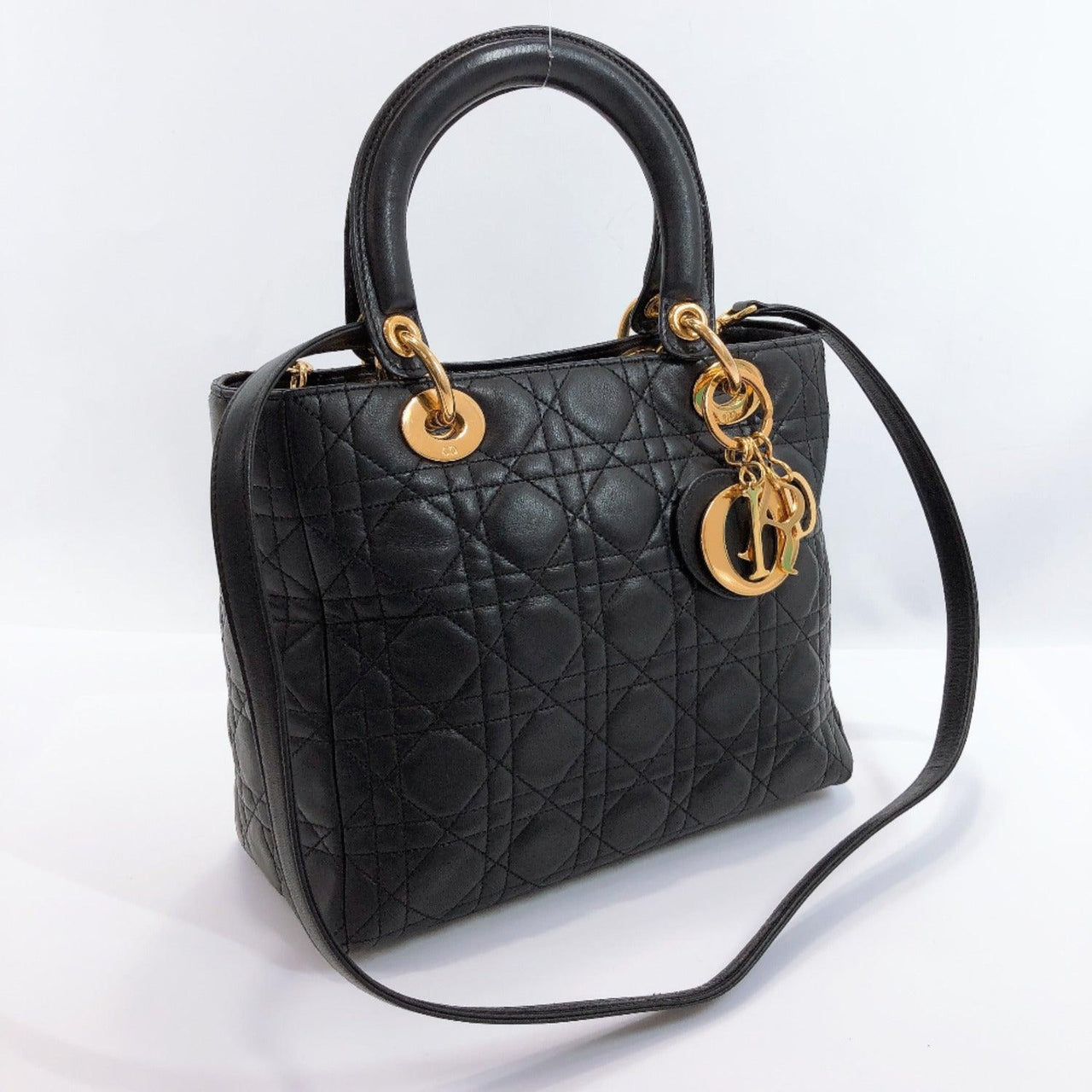 Christian Dior Handbag Lady Dior Canage lambskin black Gold Hardware Women Used