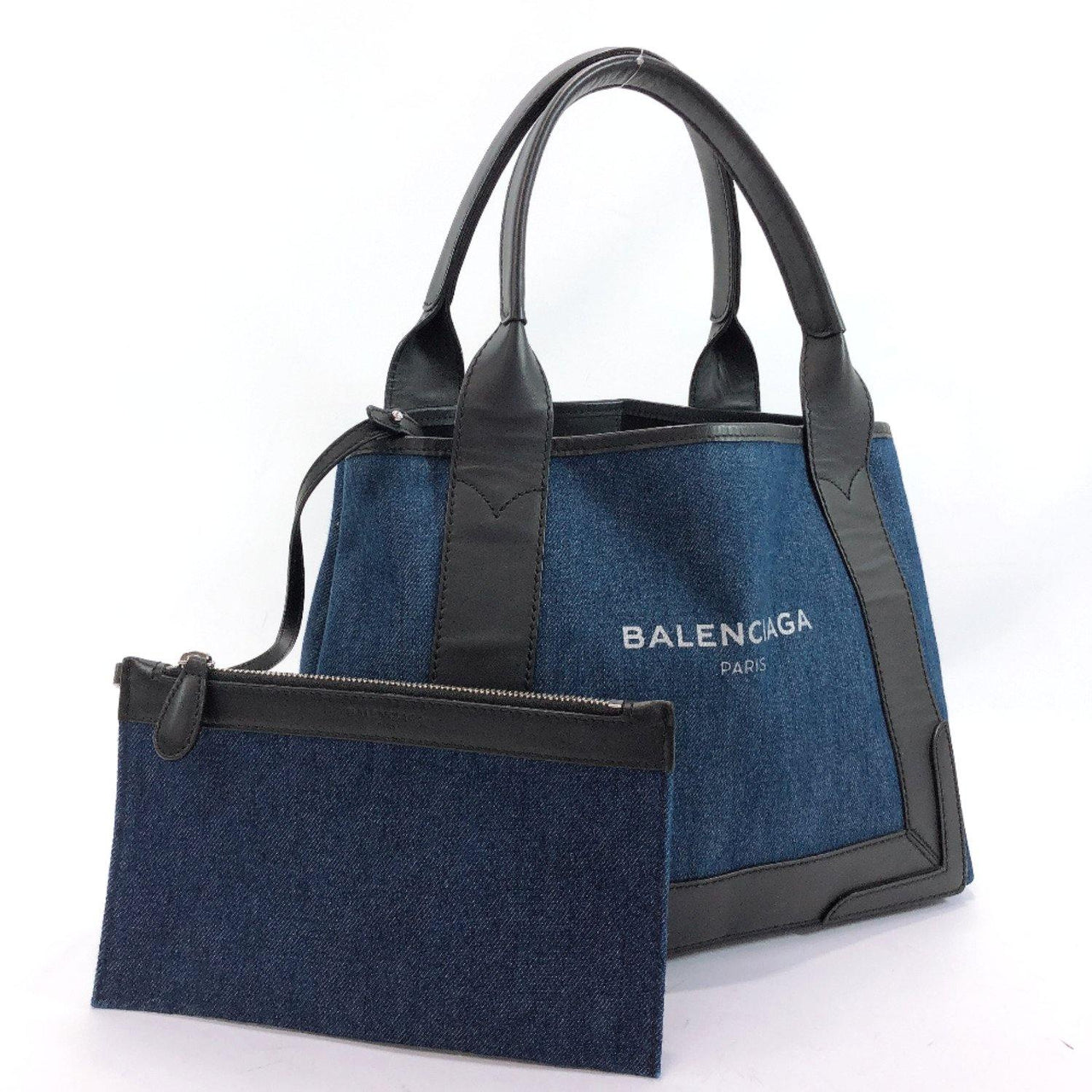 BALENCIAGA Tote Bag 339933 Navy Kabas denim/leather Navy black Women Used - JP-BRANDS.com
