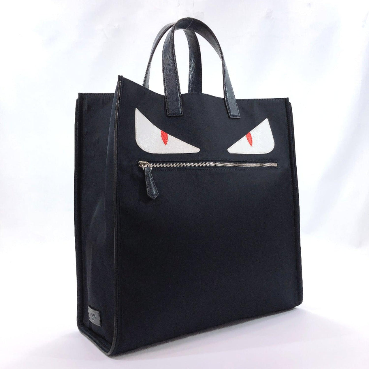 FENDI Tote Bag 7VA367-2WP Monster tote Bugs Nylon/leather Navy unisex Used