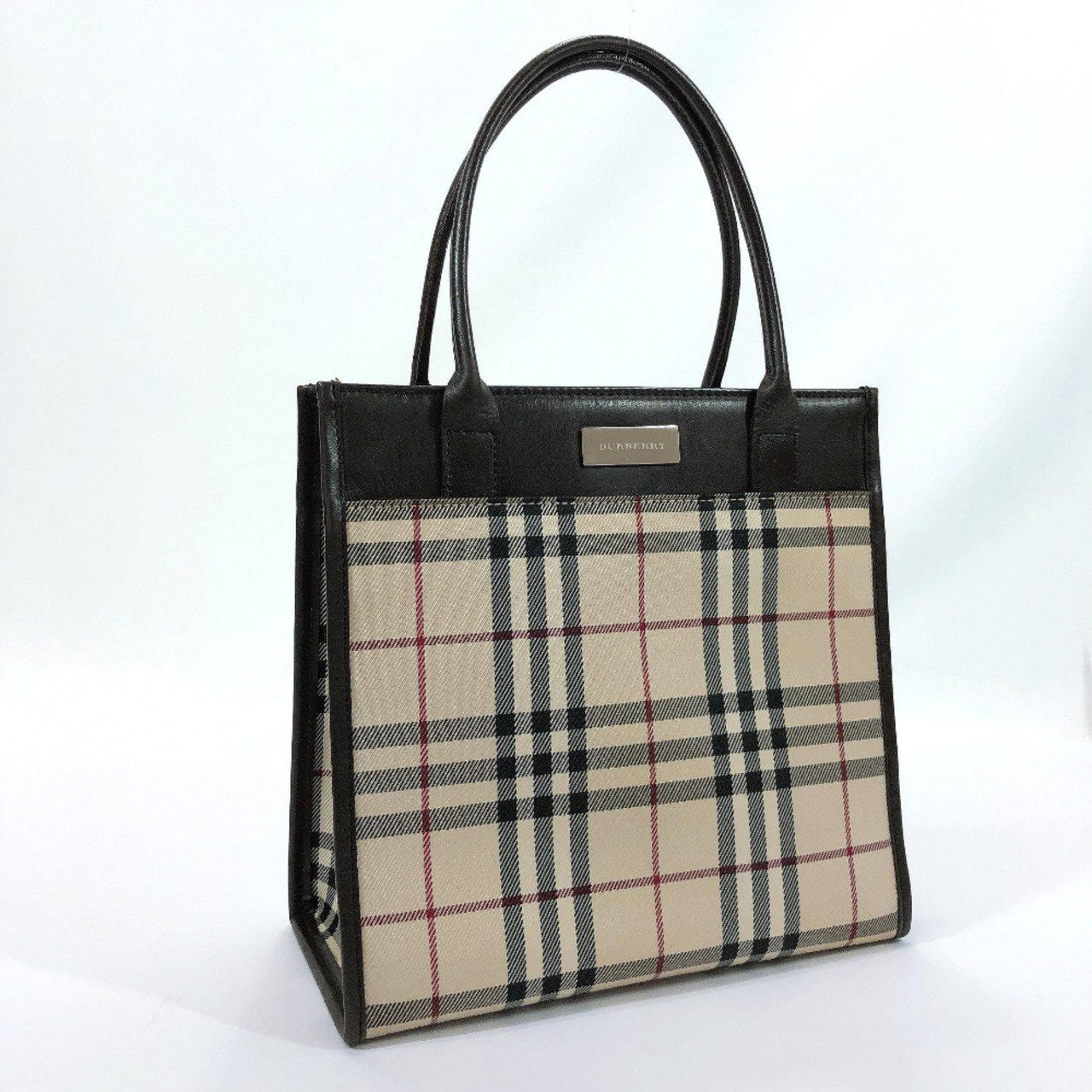 BURBERRY Handbag Burberry check Ikat nylon canvas/leather beige Brown Women Used - JP-BRANDS.com