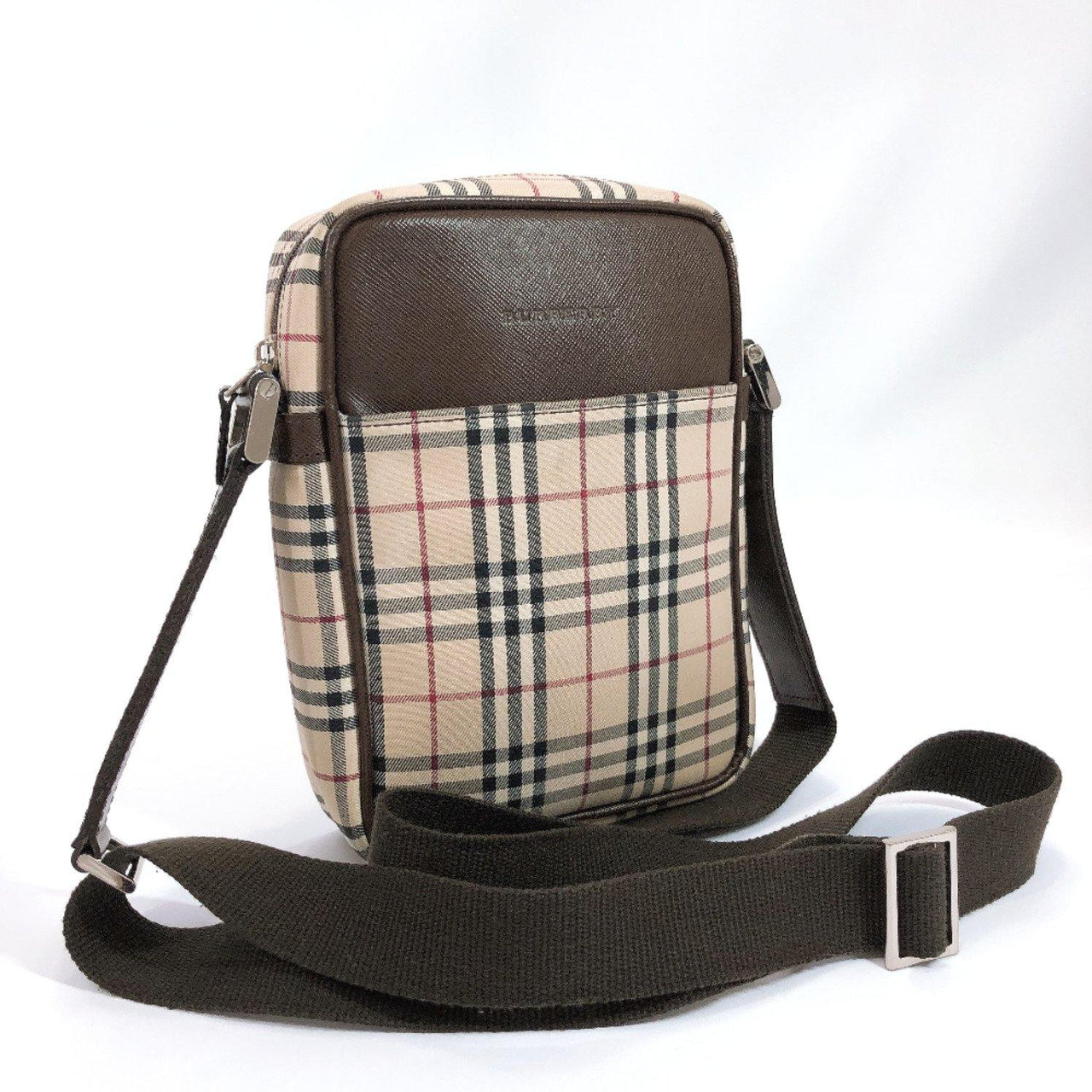 BURBERRY Shoulder Bag Vintage check Ikat nylon canvas/leather beige Brown Women Used - JP-BRANDS.com
