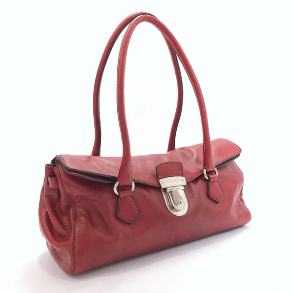 PRADA Handbag leather Red Silver Women Used