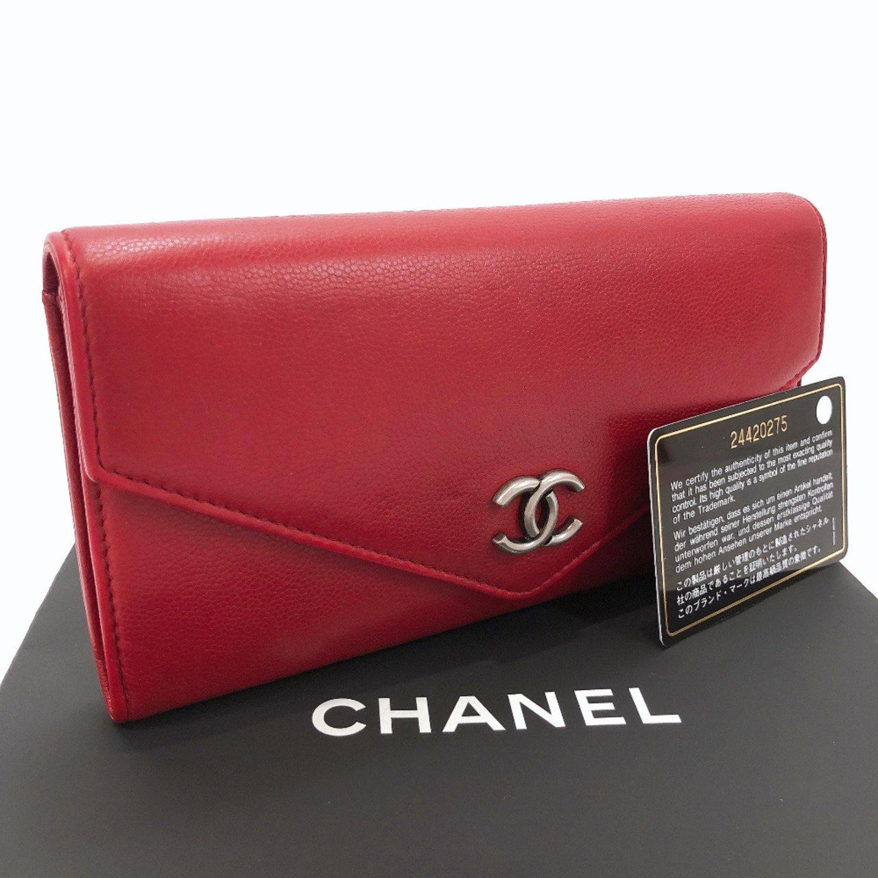CHANEL purse leather Red Women Used