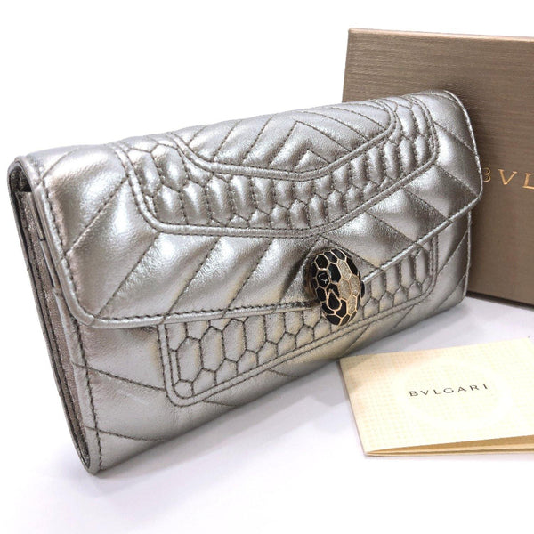 BVLGARI purse Snake leather Silver Women Used