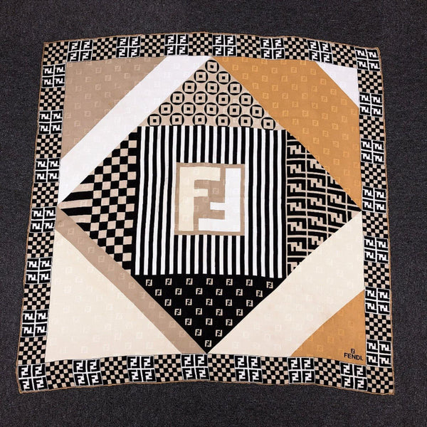 FENDI scarf silk beige black Women Used