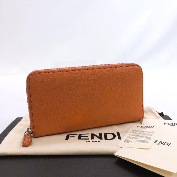 FENDI purse Celeria Round zip leather Orange Women Used