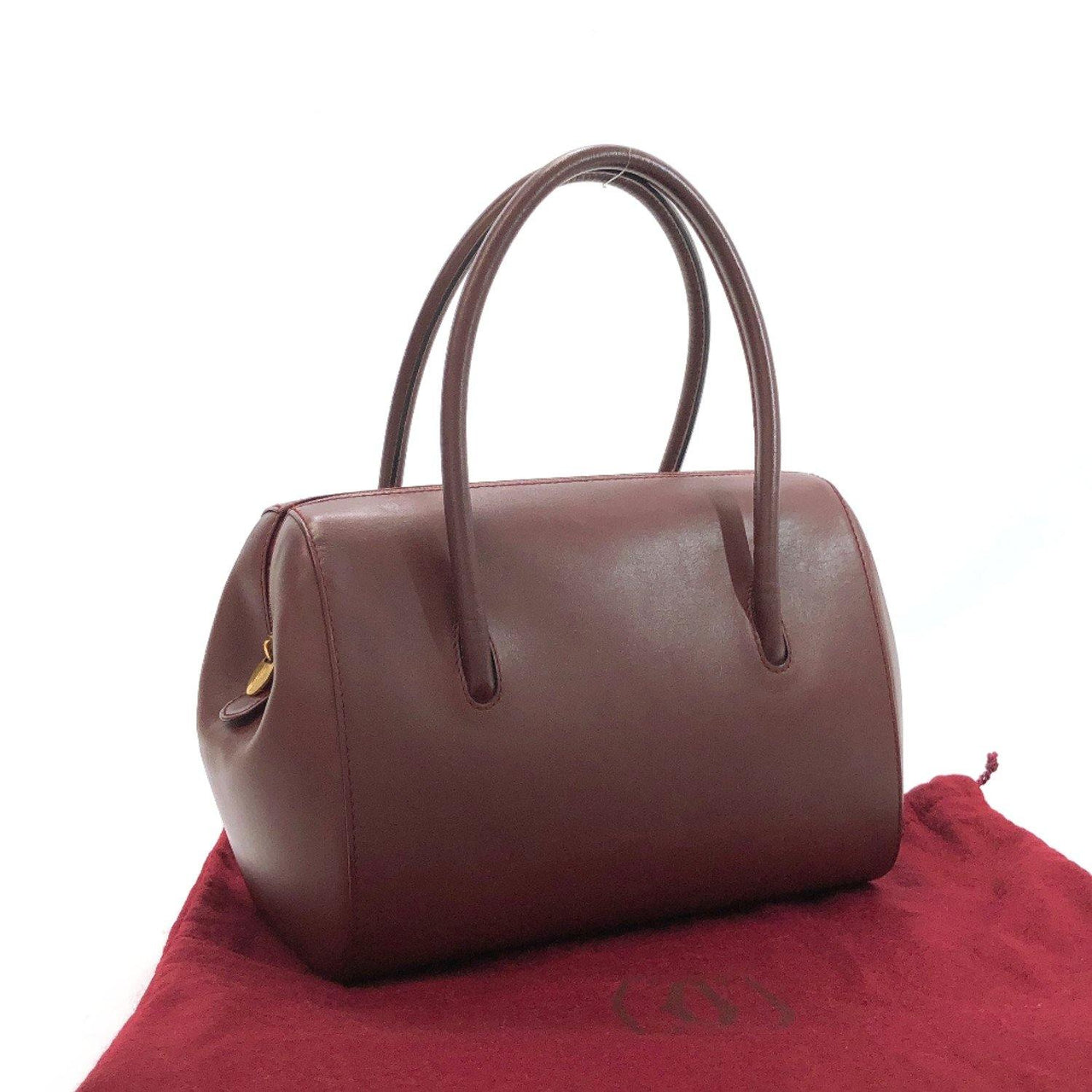 CARTIER Handbag leather Bordeaux Women Used - JP-BRANDS.com