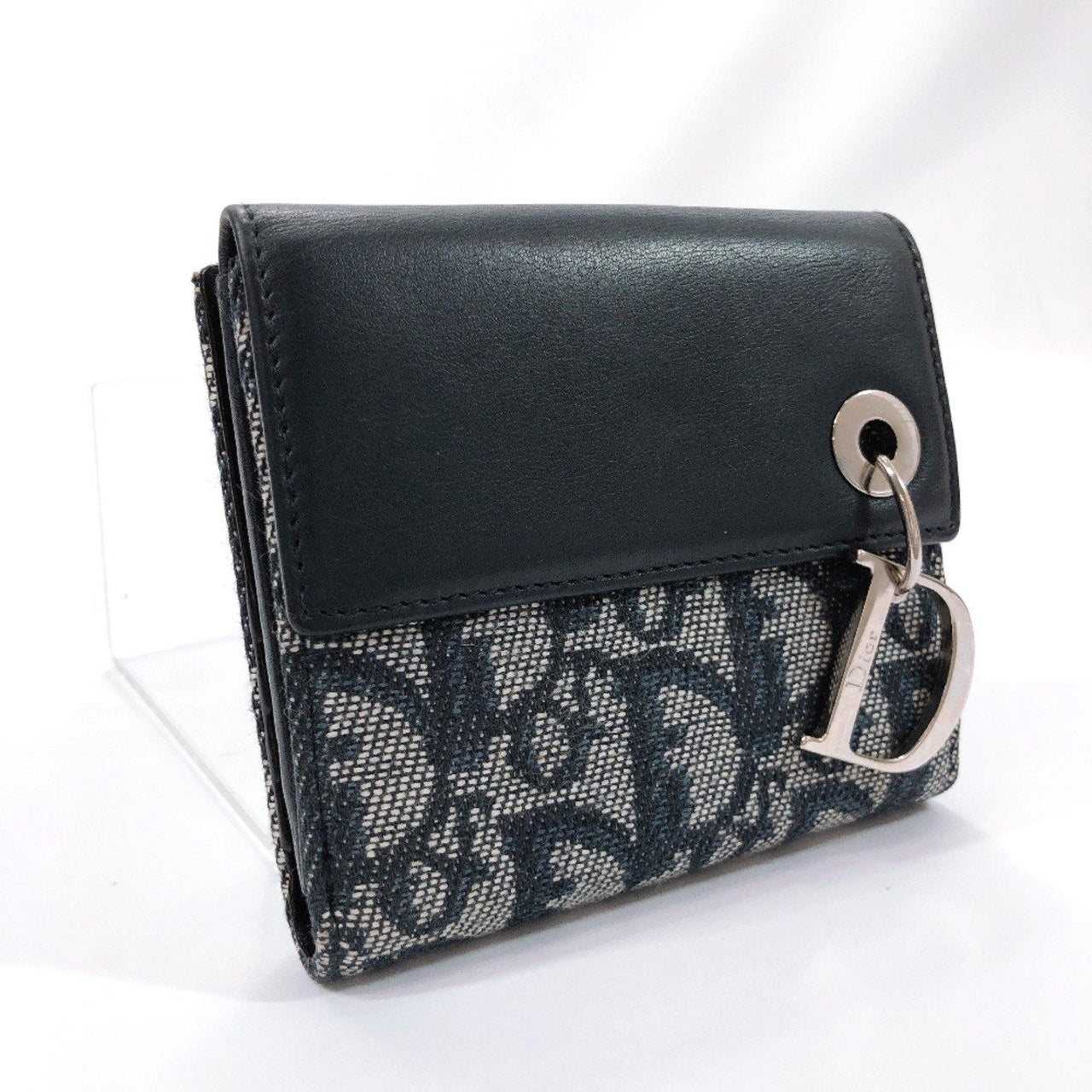 Dior wallet Trotter canvas/leather Navy SilverHardware Women Used - JP-BRANDS.com