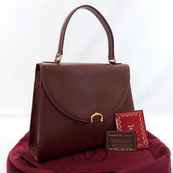 CARTIER Handbag Must Line Kelly Type vintage leather wine-red Women Used