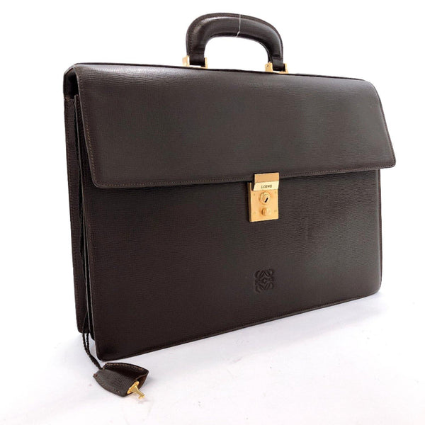 LOEWE Business bag leather Brown mens Used