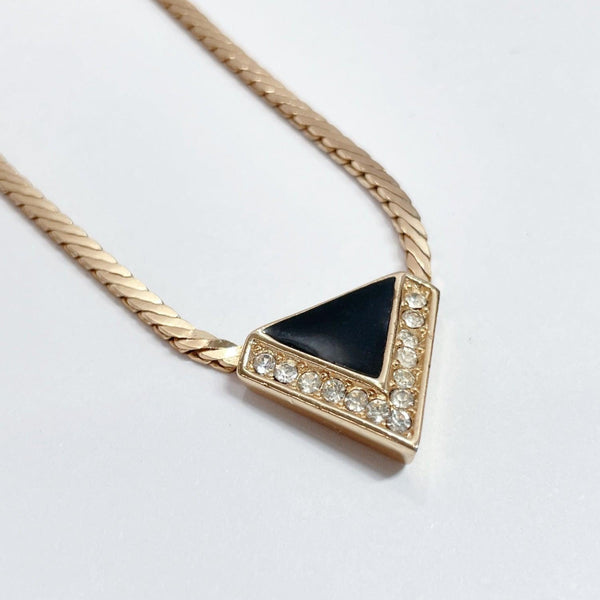 Christian Dior Necklace Triangle metal gold black Women Used