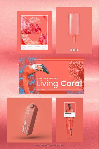 Pantone Living Coral color stock background photos