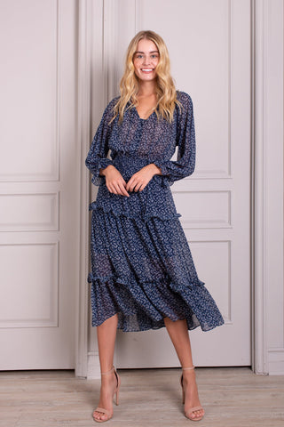 Hélène Tiered Long Sleeve Ruffle Maxi Dress