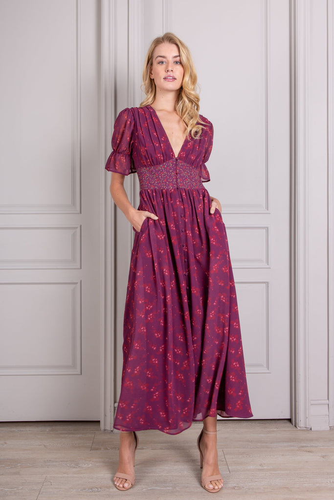 Valentine Button Down Short Sleeve Maxi Dress