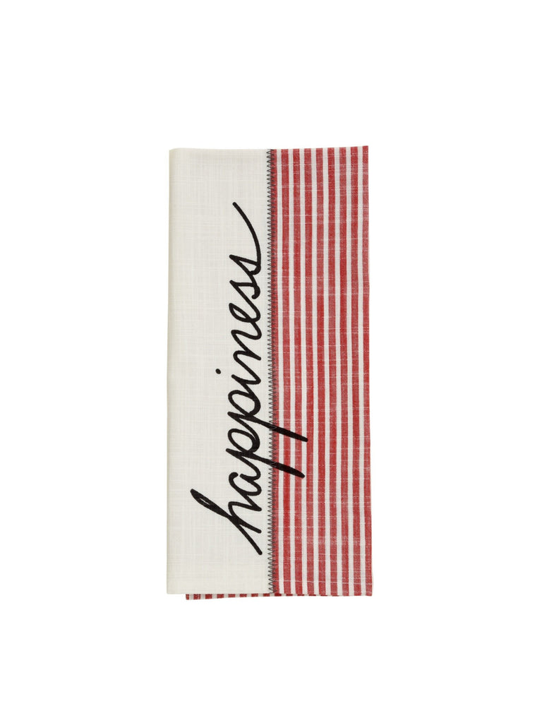 Happiness Striped Woven Kitchen Towel