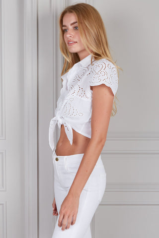 Diana Eyelet Short Sleeve Cropped Top