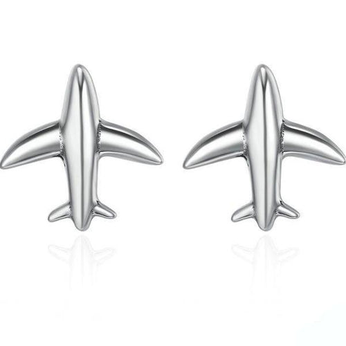 Sterling Silver Exquisite Mini Airplane Aircraft Stud Earrings