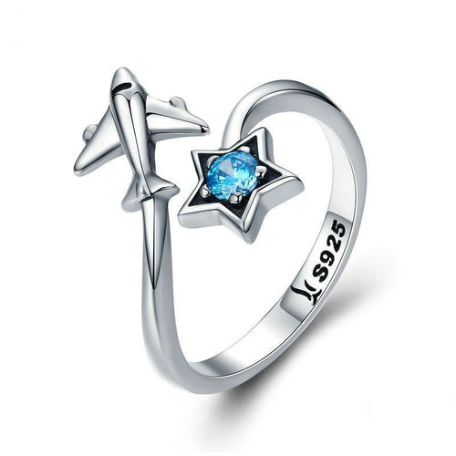 Sterling Silver Star & Plane Ring
