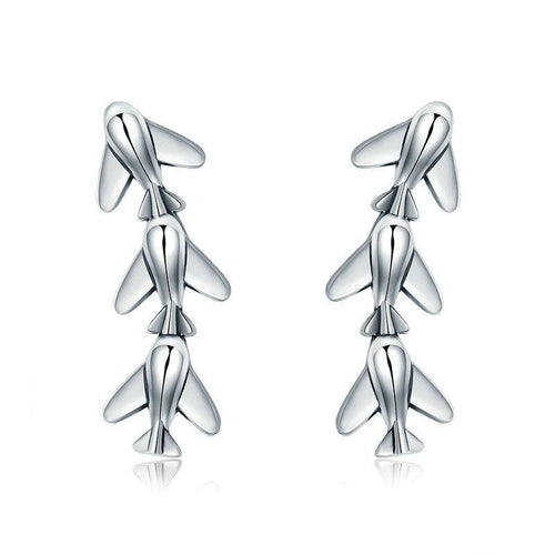 Sterling Silver Plane Drop Earrings