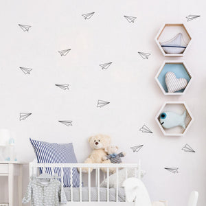 16 Pcs Geometric Origami Airplane Wall Decals