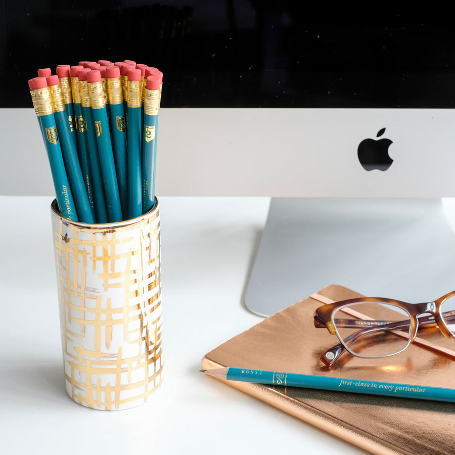 Gold Hatch Pencil Cup w/ Stormy Pencils