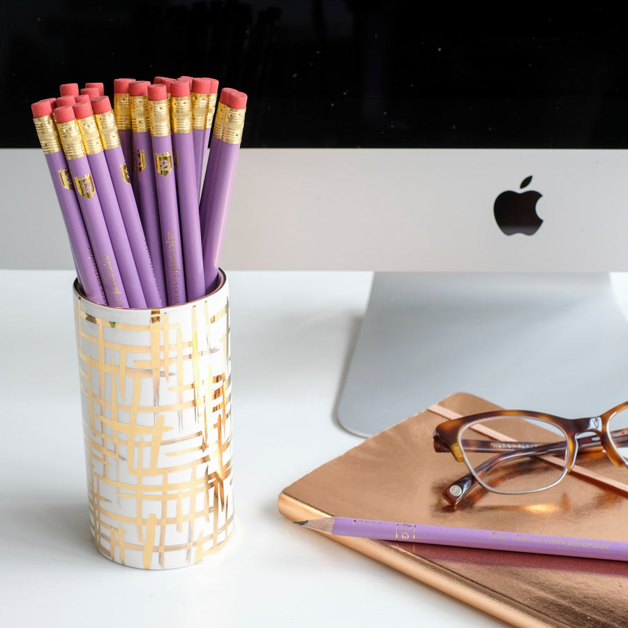 Gold Hatch Pencil Cup w/ Lilac Pencils