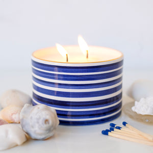 Sea Salt & Sage Candle in Slinky Stripe