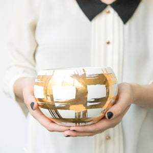 Gold Plaid Medium Belly Bowl