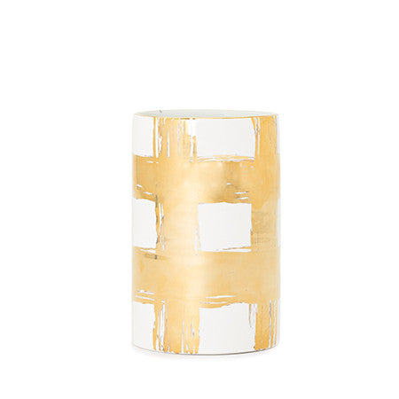 Gold Plaid #5 Cylinder Vase