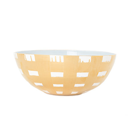 Gold Plaid Large Low Bowl